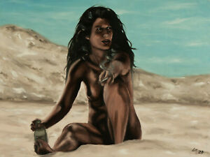 ORIGINAL-Signed-Handmade-Oil-painting-on-canvas-23x17-039-039-figure-female-beach