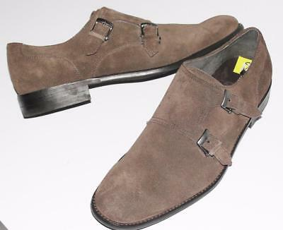 JOHN VARVATOS~NWOB~$298.00~SUEDE *DOUBLE MONK-STRAP* OXFORD LOAFERS SHOES~9.5
