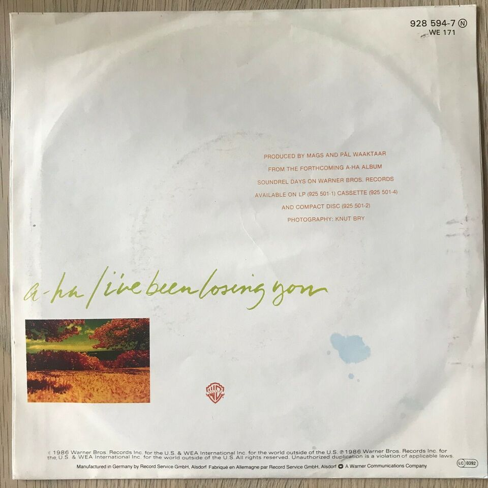 Single, A-Ha, I've Been Losing You/This Alone Is Love