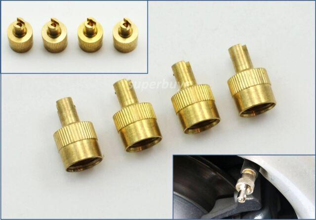 4pcs Brass Car Tyre Tube Air Valve Caps W/ Core Removal Stem Leak Cover Tool