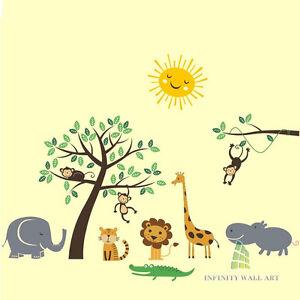 Amis Animaux Jungle Safari Pépinière Mega Pack Stickers Muraux, Wall Stickers-pd93-afficher Le Titre D'origine Vif Et Grand Dans Le Style