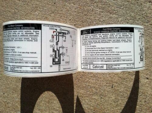 NOS 1993 93 FORD MUSTANG SVT COBRA /& COBRA R EMISSIONS SCHEMATIC VEC DECAL LABEL