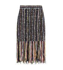 MSGM Boucle Tweed Tassel Fringe Pencil Skirt New