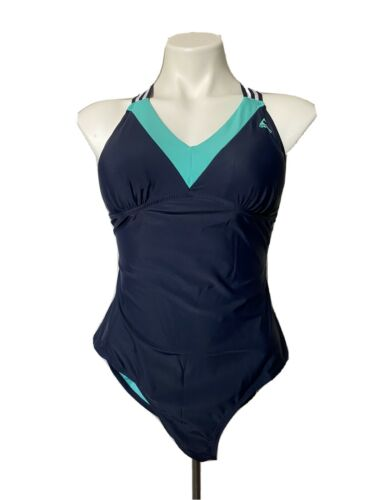 NEW MAINSTREAM 1 Piece Bathing Swim Suit Size 8 Medium Pink Black Attached Skirt