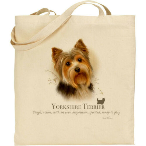 Yorkshire Terrier Cane Breed H Robinson reusuable Cotone Shopping Borsa A Tracolla
