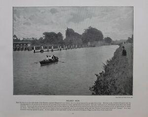 1896 London Stampa + Testo Molesey Weir