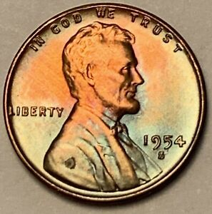 1954 S Lincoln Wheat Penny One Cent Uncirculated Copper Coin from Roll