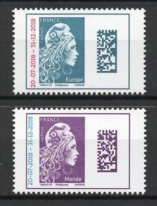 PAIRE-DE-TIMBRES-NEUFS-XX-LUXE-MARIANNE-L-039-ENGAGEE-SURCHARGEE-EUROPE-MONDE