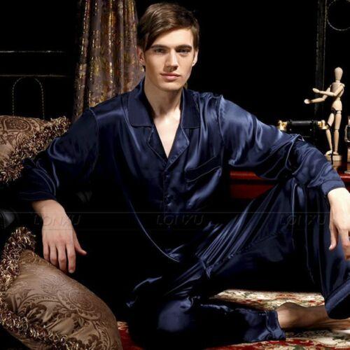 Mens Silk Satin Pajamas Set Pjs Sleepwear Loungewear Fits All Season