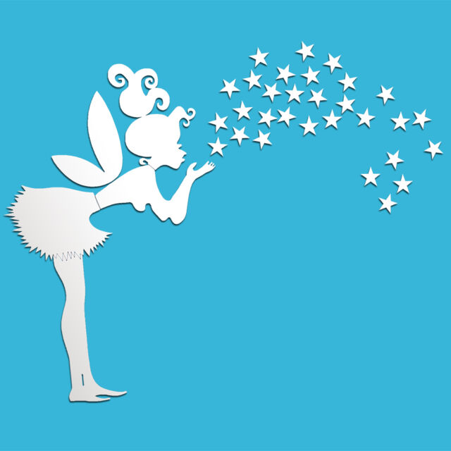 Fairy With Stars PS Wall Decal 3D Mirror Stickers Kids Bedroom DIY Decoration