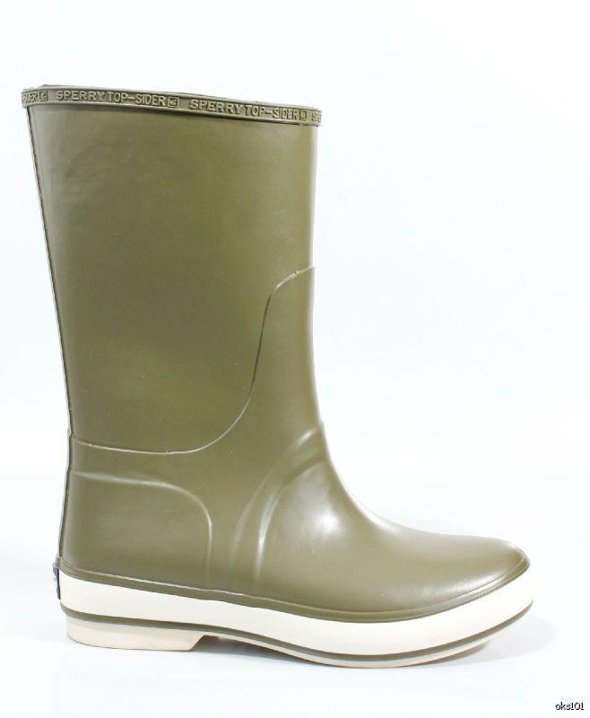 new SPERRY Top-Sider Rain Cloud olive green fleece-lined SNOW RAIN BOOTS