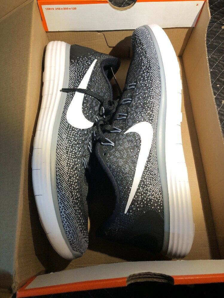 Nike Free RN Distance 827115-010 sz 12 Black White Wolf Grey Running Shoes New