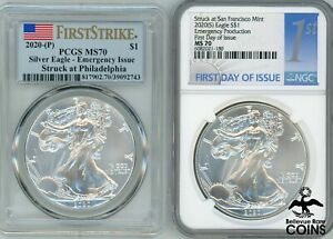 Lot of 2: 2020 -S&P USA 1oz American Silver Eagle Emergency Issue MS70 NGC PCGS