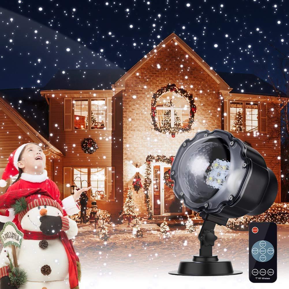 Proyector Navidad LED Efecto Copos de Nieve Luces Decoracion con Control Remoto