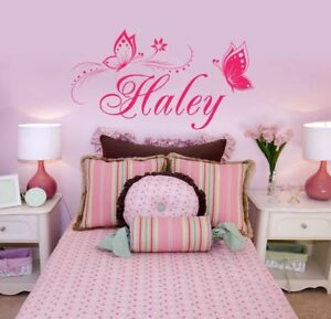 Butterfly Wall Sticker Personalized ONE NAME Vinyl Wall Decal Girl\'s ...