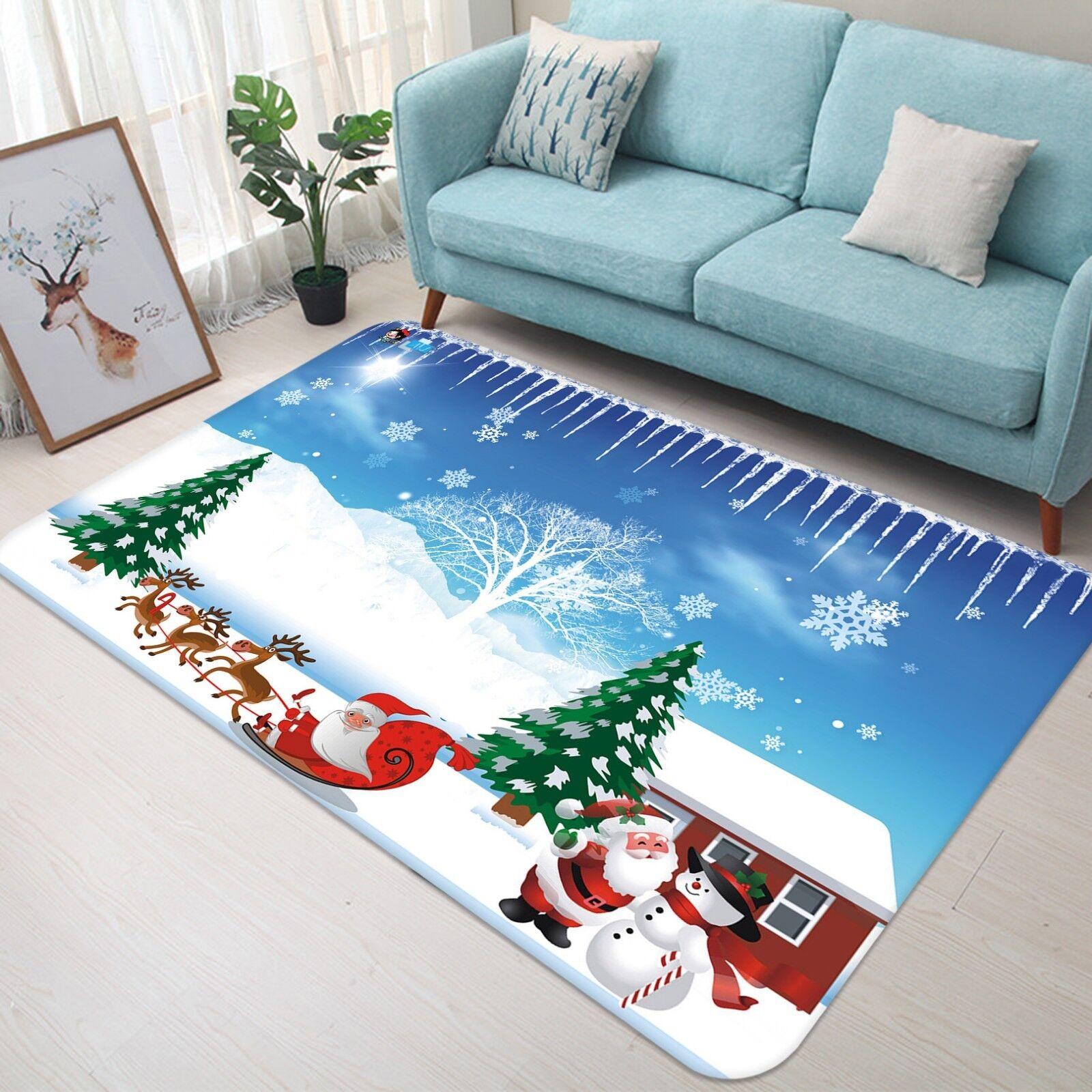 3D Christmas Xmas Snow Sky 3 Non Slip Rug Mat Room Mat Quality Elegant Carpet AU