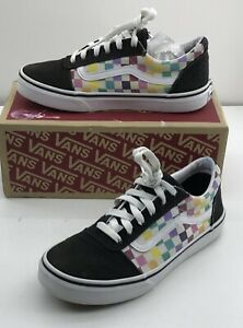 Vans Girls Party Check/ Multicolored Old Skool Skate Shoes US Size 4 Missy
