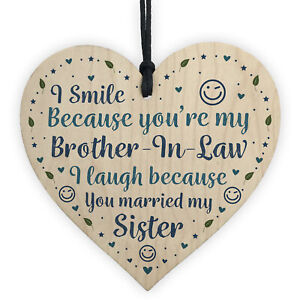 Image Is Loading Funny Brother In Law Birthday Gift Wooden Heart