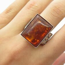 Vtg Europe 925 Sterling Silver Large Real Baltic Amber Gemstone Ring Size 8