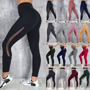 Women High Waist Yoga Pants Mesh Capri Fitness Leggings Running Gym Trousers G27
