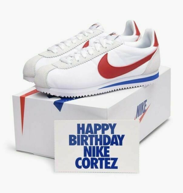 Nike Classic Cortez Nylon Premium Forrest Gump USA Olympic Sz 9 White Red  Blue