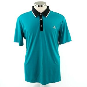 Adidas-Climacool-Mens-L-Green-Black-Short-Sleeve-Polo-Golf-Shirt