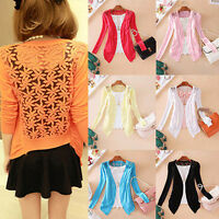 women Lady Lace Sweet Candy Color Crochet Knit Blouse Top Coat Sweater Cardigan