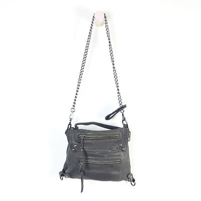 ZARA Schulterasche Tasche Bag Damen Clutch Leder Grau