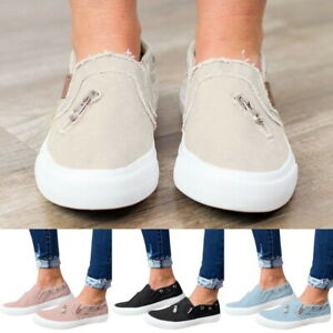 WOMENS-LADIES-FLATS-SLIP-ON-PUMPS-CANVAS-CASUAL-SHOES-LOAFERS-TRAINERS-SIZE-CL