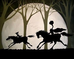 8x10-Art-Print-Halloween-THE-CHASE-Headless-horseman-Sleepy-Hollow-moon-horse-DC