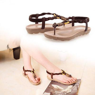 Summer Women Girl Boho Beads Flat Shoes Sandals Heel T Strap Flip Flops Retro
