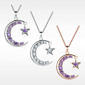 Star Moon Necklace Silver Crystal Jewellery 925 Chain Pendant Gift Woman Girl CZ