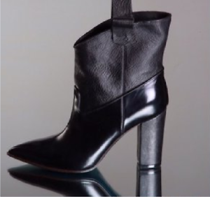 GIORGIO ALTAMODA LEATHER & PATENT BLACK ANKLE BOOTS US 7.MADE IN ITALY
