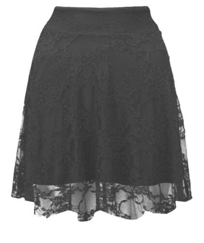 New Womens Floral Lace Lined High Waisted Skater Skirt 8-22