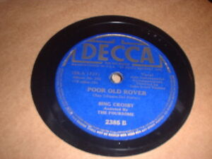 Details about 78RPM Decca 2385 Bing Crosby, Poor Old Rover, Little Sir Echo  V+