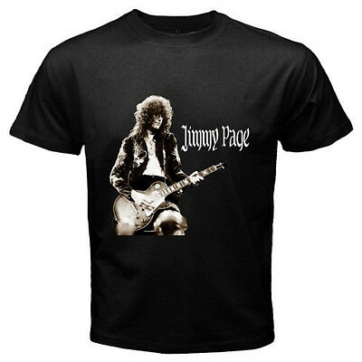 New Design JIMMY PAGE Led Zeppelin Guitarist Legend Black T-Shirt Size S-3XL