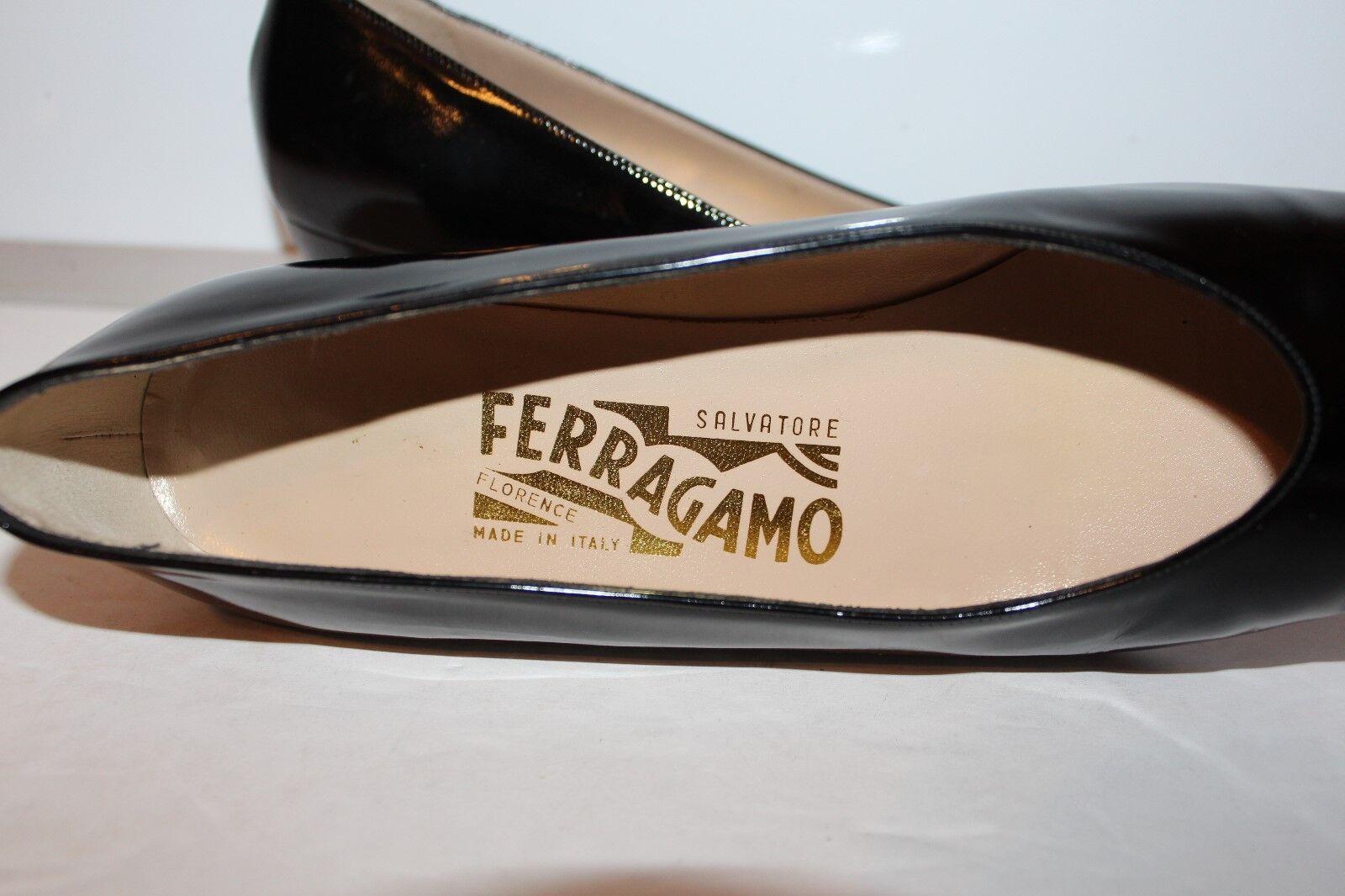 Salvatore Ferragamo bomba Dale Becerro Charol Charol Becerro Negro Mujer Zapatos Talla 6 AA 8b6012
