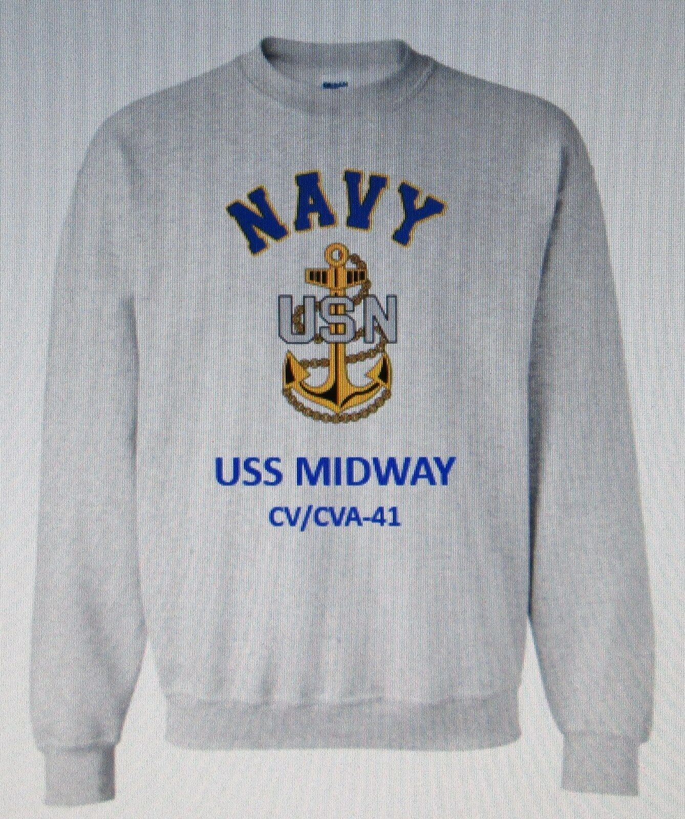 USS MIDWAY  CV/CVA-41 AIRCRAFT CARRIER NAVY ANCHOR EMBLEM SWEATSHIRT
