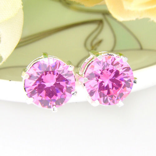 Wedding  Jewelry Set Natural Pink topaz Silver Bracelet Earrings Ring Size 8 New