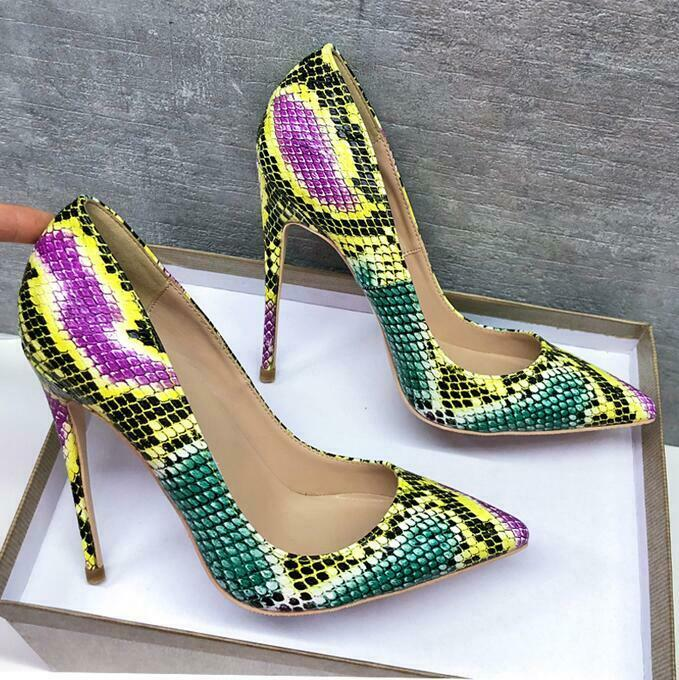 Mischfarben Schlangenhaut Spitz Zehe Pumps Damen Stilettoabsatz Sexy Gr.33-44