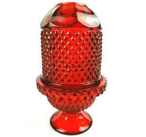 Viking-Glass-Ruby-Red-Diamond-Point-Glimmer-Fairy-Lamp-Vintage-MCM