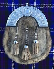 New Full Dress Mens Kilt Sporran Seal Skin Celtic Cantle Chrome/Kilt Sporrans