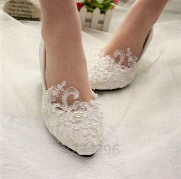 Handmade Wedding Shoes Lace Pearl Flower Bridal Womens Pump Flat Shoes