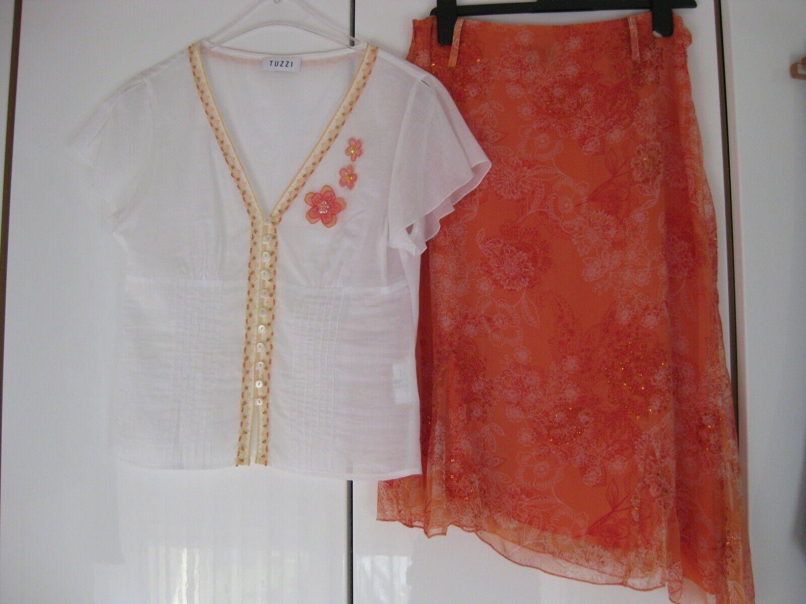 Tuzzi Damen Set Tunika Bluse Rock Pailletten Seide orange weiß Gr. 38 / 40 Neu