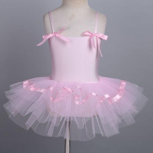 Girls Ballerina Dance Tutu Skirts Gymnastics Skating Leotards Gym Dress Costumes