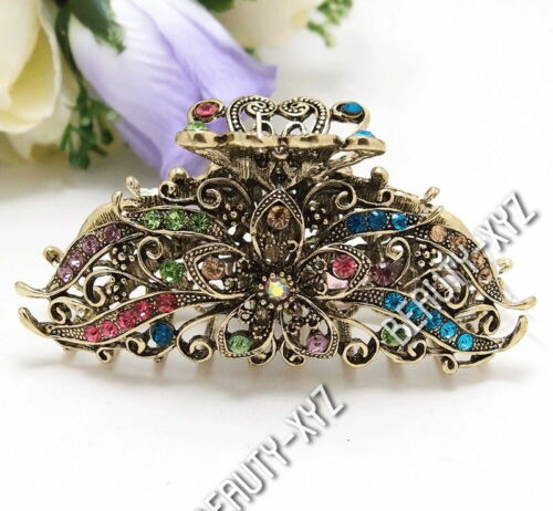 New Fashion Multi-Color Rhinestone Crystal Metal flowers hair claws clip 3 inch