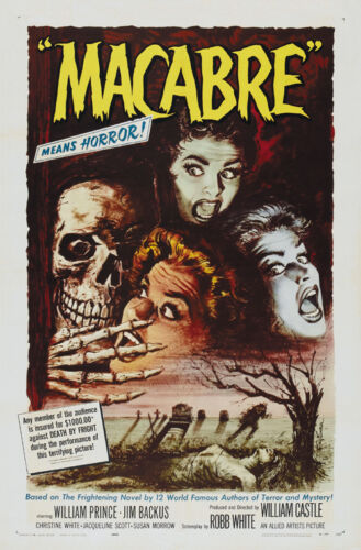 Cult Horror movie poster print 2 Macabre 1958