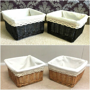 2x small wicker basket lined gift hamper bathroom storage - White wicker bathroom accessories ...