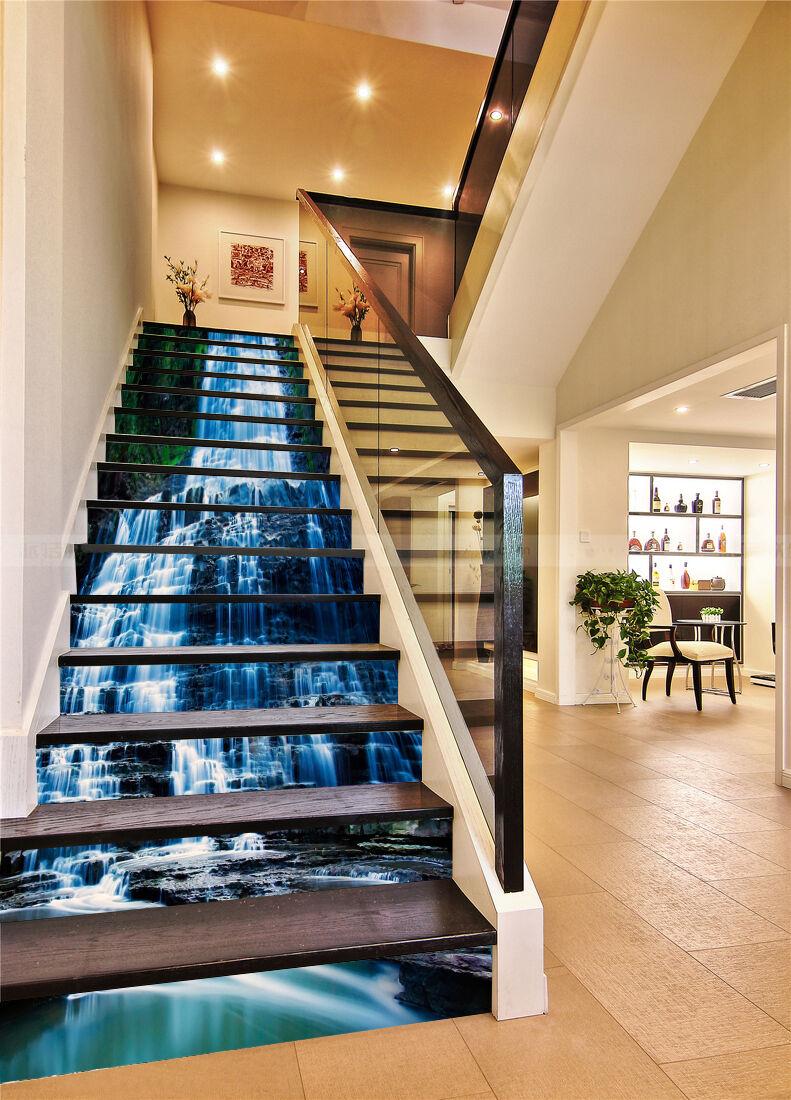 3D Wasserfall 479 Stair Risers Dekoration Fototapete Vinyl Aufkleber Tapete DE