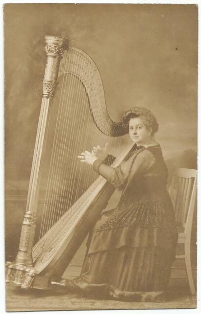 Lady Playing Harp Music Instrument ~ AZO RPPC Real Photo Postcard c.1909
